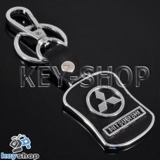 Металлический брелок с кожаными вставками для авто ключей Mitsubishi (Митсубиси)
