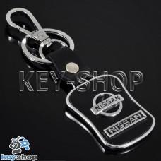 Металлический брелок с кожаными вставками для авто ключей Nissan (Ниссан)
