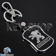 Металлический брелок с кожаными вставками для авто ключей Пежо (Peugeot)