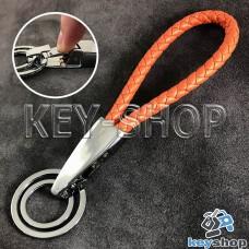 Оранжевый брелок с кожаным плетёным шнуром, карабином и двумя кольцами