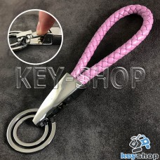 Розовый брелок с кожаным плетёным шнуром, карабином и двумя кольцами
