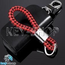 Красно - черный брелок с кожаным плетёным шнуром и двумя кольцами