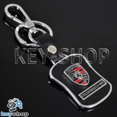 Металлический брелок с кожаными вставками для авто ключей Порше (Porsche)
