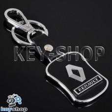 Металлический брелок с кожаными вставками для авто ключей Renault (Рено)