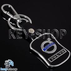 Металлический брелок с кожаными вставками для авто ключей VOLVO (Вольво)
