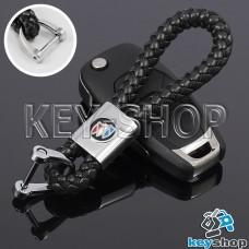 Кожаный плетеный (черный) брелок для авто ключей Buick (Бьюик)