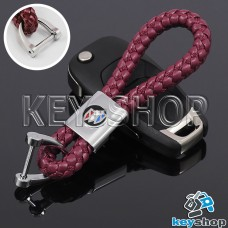 Кожаный плетеный (бордовый) брелок для авто ключей Buick (Бьюик)