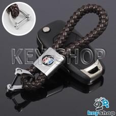 Кожаный плетеный (коричневый) брелок для авто ключей Buick (Бьюик)