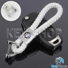Кожаный плетеный (белый) брелок для авто ключей Buick (Бьюик)