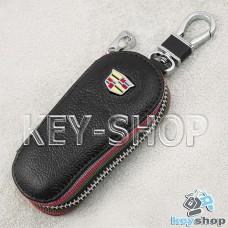 Ключница карманная (кожаная, черная, на молнии, с карабином, с кольцом), логотип авто Cadillac (Кадилак)