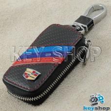 Ключница карманная (кожаная, черная, под карбон, на молнии, с карабином, с кольцом), логотип авто Cadillac (Кадилак)