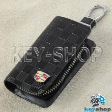 Ключница карманная (кожаная, черная, с тиснением, на молнии, с карабином, с кольцом), логотип авто Cadillac (Кадилак)