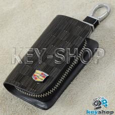 Ключница карманная (кожаная, коричневая, с тиснением, на молнии, с карабином, с кольцом), логотип авто Cadillac (Кадилак)