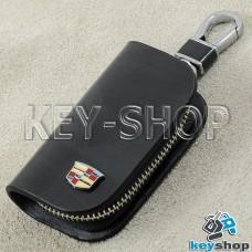 Ключница карманная (кожаная, черная, с узором, на молнии, с карабином, с кольцом), логотип авто Cadillac (Кадилак)