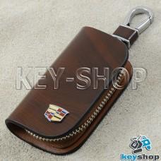 Ключница карманная (кожаная, коричневая, с узором, на молнии, с карабином, с кольцом), логотип авто Cadillac (Кадилак)