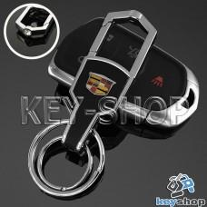 Металлический брелок для авто ключей CADILLAC (Кадиллак) с карабином и кожаной вставкой