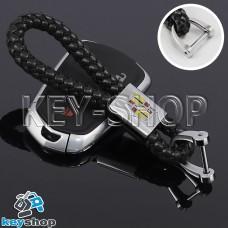 Кожаный плетеный (черный) брелок для авто ключей CADILLAC (Кадиллак)