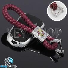 Кожаный плетеный (бордовый) брелок для авто ключей CADILLAC (Кадиллак)