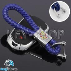 Кожаный плетеный (синий) брелок для авто ключей CADILLAC (Кадиллак)