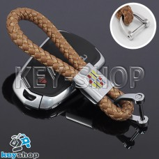 Кожаный плетеный (светло - коричневый) брелок для авто ключей CADILLAC (Кадиллак)