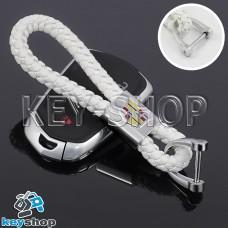 Кожаный плетеный (белый) брелок для авто ключей CADILLAC (Кадиллак)