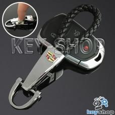 Кожаный плетеный (черный) брелок для авто ключей CADILLAC (Кадиллак) с хромированным карабином