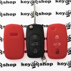 Чехол (красный, силиконовый) для выкидного ключа Audi (Ауди) 3 кнопки