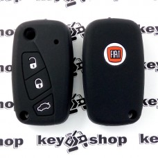Чехол (черный, силиконовый) для выкидного ключа Fiat (Фиат) 3 кнопки