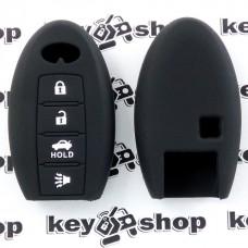 Чехол (черный, силиконовый) для смарт ключа Infiniti (Инфинити) 4 кнопки