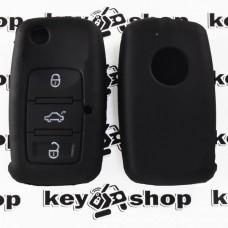 Чехол (черный, силиконовый) для выкидного ключа Skoda (Шкода) 3 кнопки
