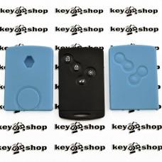 Чехол (голубой, силиконовый) для смарт карты RENAULT (Рено) 4 кнопки