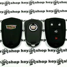 Чехол (черный, силиконовый) для смарт ключа Cadillac (Кадиллак) 3 кнопки + 1