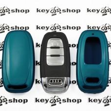 Чехол (голубой, пластиковый) для смарт ключа Audi (Ауди)