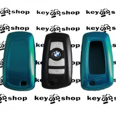 Чехол (голубой, пластиковый) для смарт ключа BMW (БМВ)