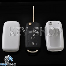 Чехол (белый, пластиковый) для выкидного ключа Volkswagen (Фольксваген)