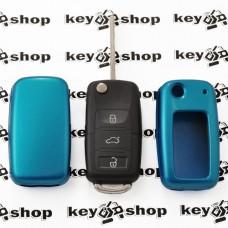 Чехол (синий, пластиковый) для выкидного ключа Volkswagen (Фольксваген)
