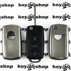Чехол (серебристый, полиуретановый) для выкидного ключа Seat (Сиат), кнопки без защиты