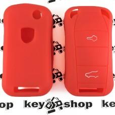 Чехол (красный, силиконовый) для выкидного ключа Porsche (Порше) 2, 3 кнопки