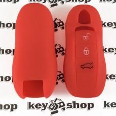 Чехол (красный, силиконовый) для смарт ключа Porsche (Порше) 3, 4 кнопки