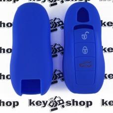 Чехол (синий, силиконовый) для смарт ключа Porsche (Порше) 3, 4 кнопки