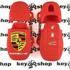 Чехол (красный, силиконовый) для смарт ключа Porsche (Порше) 3 кнопки