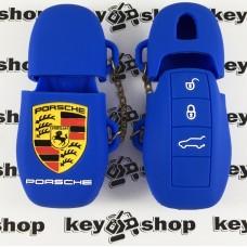 Чехол (синий, силиконовый) для смарт ключа Porsche (Порше) 3 кнопки