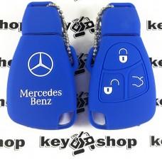 Чехол (синий, силиконовый) для смарт ключа Mercedes (Мерседес) 3 кнопки