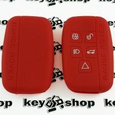 Чехол (красный, силиконовый) для смарт ключа LAND ROVER (Ленд Ровер) - 5 кнопок