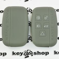 Чехол (серый, силиконовый) для смарт ключа LAND ROVER (Ленд Ровер) - 5 кнопок
