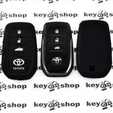 Чехол (черный, силиконовый) для смарт ключа Toyota (Тойота), 3 кнопки