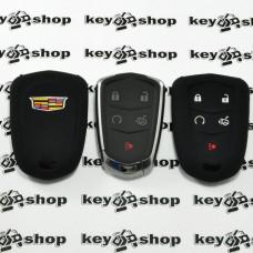 Чехол (черный, силиконовый) для смарт ключа Cadillac (Кадиллак) 4 кнопки + 1