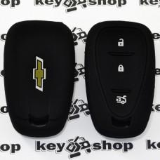 Чехол (черный, силиконовый) для смарт ключа Chevrolet (Шевролет) 3 кнопки