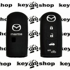 Чехол (черный, силиконовый) для смарт ключа Mazda (Мазда) 4 кнопки