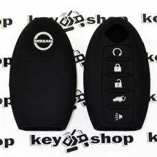 Чехол (черный, силиконовый) для смарт ключа Nissan (Ниссан) 5 кнопок